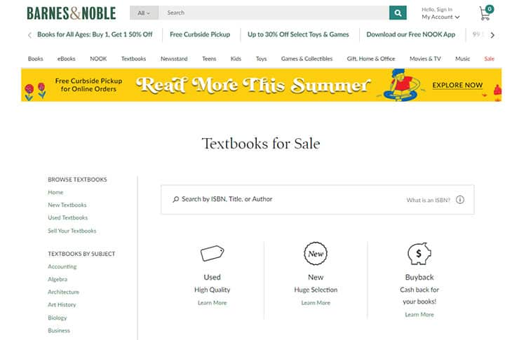 Barnes And Noble textbooks for sale