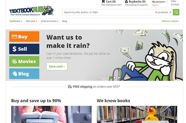 textbookrush book rental service