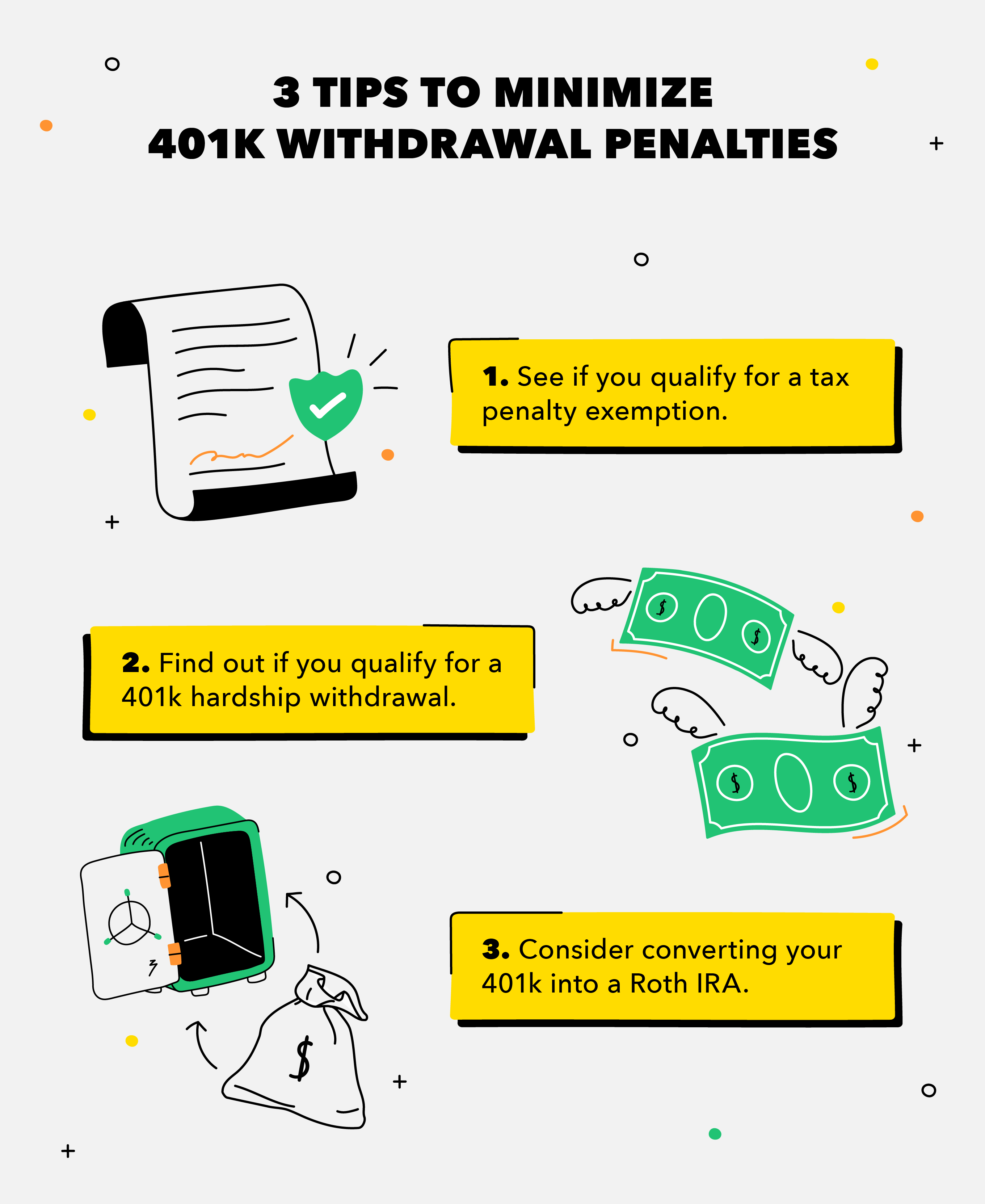 tips to minimize 401k withdrawal penalties